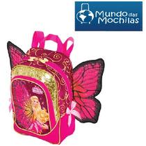 Mochila De Costas Barbie Butterfly Escolar Rosa Pequena