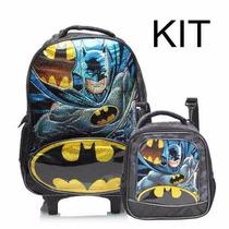Mochila Carrinho Batman Sinal G + Lancheira Kit