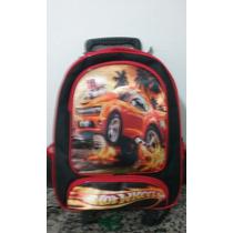 Mochila Hot Wheels Escolar Rodinhas Pronta Entrega