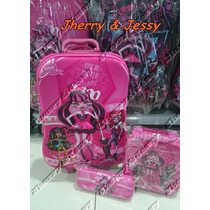 Kit Mochila 3d Infantil De Rodinha Monster High 2016