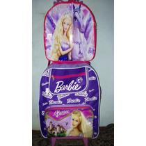 Mochila Infantil Barbie Rodinha Gel + Lancheira Frete Grátis