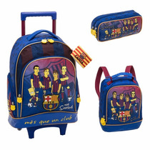 Kit Mochila Simpsons Barcelona ( G ) + Lancheira + Estojo