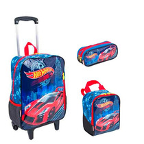 Kit Mochila Grande C/ Roda Hot Wheels + Lancheira + Estojo