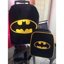 Mochila De Carrinho E Lancheira Heróis Batman Super Homem!
