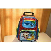 Mochila Escolar Infantil Com Rodinhas + Lancheira Mickey G