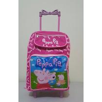 Mochila Infantil Peppa Pig Escolar Com Rodinhas Lançamento
