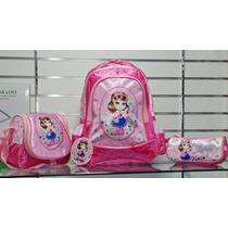 Kit Mochila Infantil Escolar Feminina Nathaly Pink 5 Anos