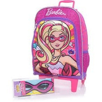 Mochila Barbie Super Princesa Máscara Rodinhas Rosa Sestini