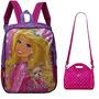 Kit Mochila Tam. G E Bolsinha Térmica Original Barbie