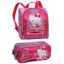 Lancheira Escolar Costas Hello Kitty Ballet + Estojo Duplo