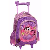 Mochila Infantil Rodinhas E Alças Mônica Rapunzel G Mochilet
