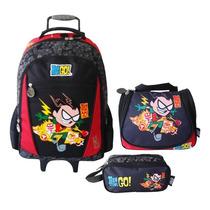 Kit Teen Titans Mochilete Tam. G + Lancheira E Estojo 600201