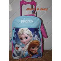 Kit Mochila Escolar Infantil De Rodinhas Frozen Coleção 2016