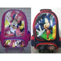 Mochila Escolar Infantil Rodinhas Mickey Minnie Mouse G
