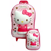 Mochila Infantil 3d Com Rodinhas E Lancheira Hello Kitty