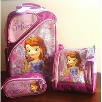 Kit Mochila Grande +lancheira+ Estojo Princesa Sofia Disney.