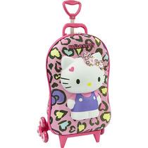 Mochila Escolar Mochilete 3d Hello Kitty Leopardo + Lancheir
