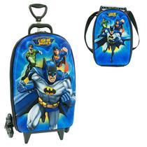 Mochila Com Carrinho 3d Liga Da Justiça Batman + Lancheira
