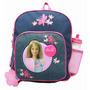 Pequeno Backpack Barbie W / Garrafa De Água Flores Denim 17