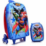 Mochila Escolar Mochilete 3d Liga Da Justiça Superman + Lanc