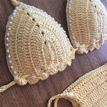Biquini De Croche Perolas Pronta Entrega(somente Parte Cima)