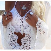 Biquíni Crochê Top Cropped Mini Blusa Europeu