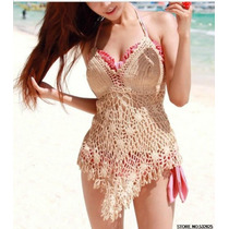 Blusa Crochet Bege Linda Decote V Verão Praia Pronta Entrega