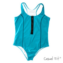 Maiô Feminino Azul Zíper Plus Size Gordinhas Moda Verão
