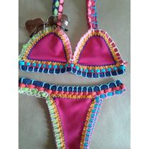 5 Biquini Croche Angel Retro Sunguini Neoprene Colorido Tira