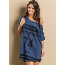 Camisola - Pijama Azul Estampad Feminino Roupa - Tam. P A Gg
