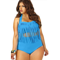 Bikini Sunkini Plus Size Com Franjas Até Tam.3g Frete Grátis