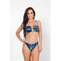 Biquini Fio Dental Liso Ripple Sexy Azul Moda Praia Verão
