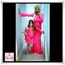 Saída De Praia Longa Diva - Pink [manga Curta]