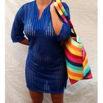 Kit Bolsa ( Sacola ) + Vestido Saída De Praia Moda Verão