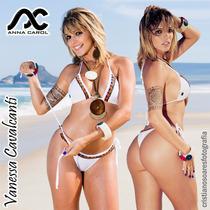 Bikini Fio Dental Anna Carol Conj Fdv-20 Branco Com Bordado