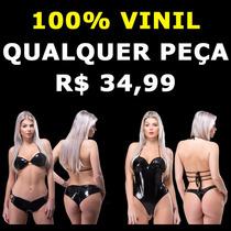 Sutien Top Shorts Body Maiô Fio Dental 100% Vinil Dominação