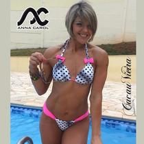 Bikini Fio Dental Anna Carol C/ Bojo E Lacinho Pb Pink Bcv-2