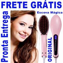 Escova Com Chapinha Magic Hair - Escova Mágica Eletrica Lcd