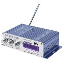 Amplificador Hi-fi Azul Stéreo C/ Rádio Fm 40w Rms Usb/sd
