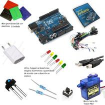 Kit Arduino =arduino+cabo Usb+cd+jumper+leds+protoboard