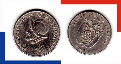 Moeda Panamá 1/4 .de Balboa 1996 * Urraca * Brasão (157)