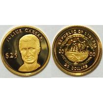 Moeda De Ouro Puro 999.9 Libéria 25 Dollars Com Certificado