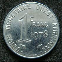 Moedas - Estados Da Africa Ocidental - 1 Franc 1978 - Fc
