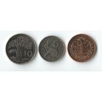 Set De 03 Moedas Diferentes Do Zimbabwe 1-10 Cents Todas Fc