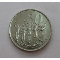Etiópia: Bela Moeda De 50 Cents 2004 Fc