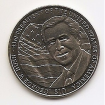 Liberia, Moeda De 10 Dolarres, 2004, Ni, Fc - George W.bush