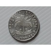 Bolivia 4 Soles F Paz 1855 Prata 13,5 Gr