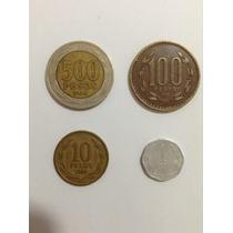 Moedas Chile Lote 500, 100, 10, 1 Pesos