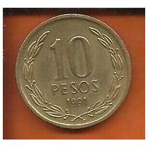 Moeda Chile 10 Pesos 1991 21mm