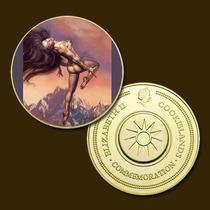 11263e - Mitologia Nórdica - Banhada A Ouro 24 K - 40 Mm